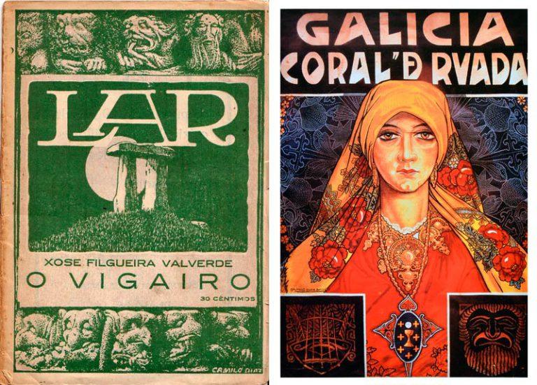 Cuberta da revista Lar e cartel para a Coral De Ruada, por Camilo Díaz Baliño